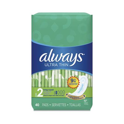 P&G 59874 Always Ultra Thin Pads, Size 2 Long Super, 40 / Pack - 6 / Case