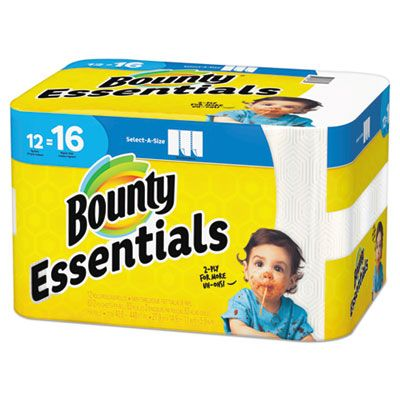 "P&G 74682 Bounty Essentials Paper Towels, 2 Ply, Select-A-Size 83 Perforated Sheets / Roll, 5.9"" x 11"", White - 12 / Case"