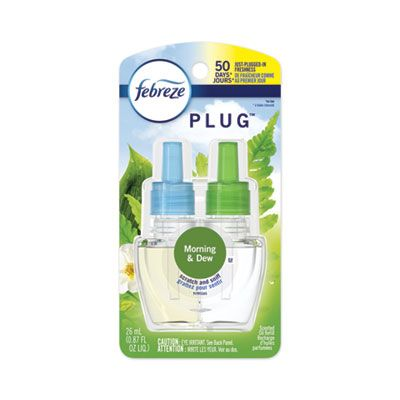 P&G 74902 Febreze PLUG Air Freshener Scented Oil Refill, Morning and Dew Scent, 0.87 oz - 6 / Case