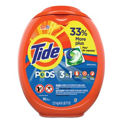 P&G 80145 Tide Laundry Detergent Pods, Original Scent, 96 / Tub - 4 / Case