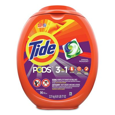 P&G 80163 Tide Laundry Detergent Pods, Spring Meadow Scent, 96 / Tub - 4 / Case
