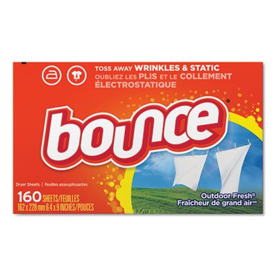 P&G 80168 Bounce Fabric Softener Dryer Sheets, Outdoor Fresh Scent, 160 / Box - 6 / Case