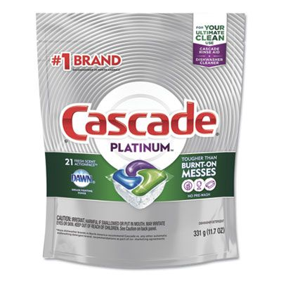 P&G 80720 Cascade Platinum Automatic Dishwasher Detergent ActionPacs, Fresh Scent, 11.7 oz Bag, 21 / Bag - 5 / Case