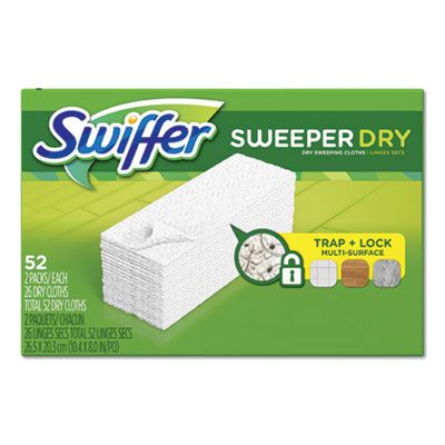 "P&G 81216 Swiffer Sweeper Dry Refill Cloths, 10.4"" x 8"", 52 / Box - 3 / Case"