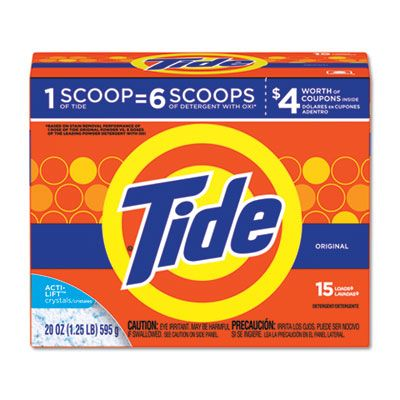 P&G 81244 Tide Laundry Detergent Powder, Original Scent, 15 Loads, 20 oz Box - 6 / Case