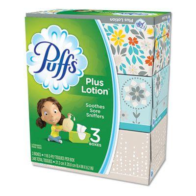 P&G 82086 Puffs Plus Lotion Facial Tissue, 2 Ply, 116 Tissue / Box, White - 24 / Case