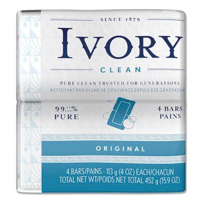 P&G 82757 Ivory Bar Soap, Original Scent, 4 oz, 4 / Pack - 18 / Case