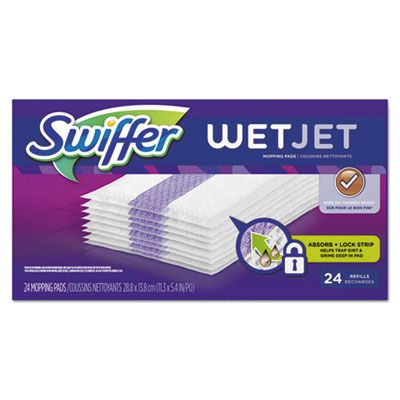 "P&G 8443 Swiffer Wet Jet System Pad Refills, 24 / Box, 11.3"" x 5.4"", White - 4 / Case"