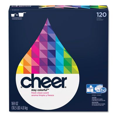 P&G 84929 Cheer Powder Laundry Detergent, Fresh Clean Scent, 169 oz Box - 2 / Case