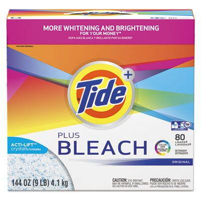 P&G 84998 Tide Plus Bleach Laundry Powder, 80 Loads, 144 oz Box - 2 / Case