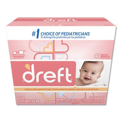 P&G 85882 Dreft Laundry Detergent Powder, Baby Powder Scent, 53 oz Box - 4 / Case