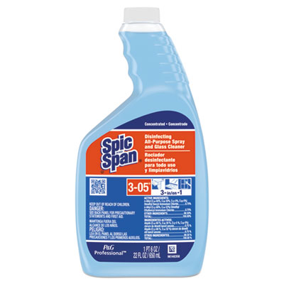 P&G 8636 Spic and Span Disinfecting All-Purpose / Glass Cleaner, Concentrate Liquid, 22 oz Spray Bottle - 3 / Case