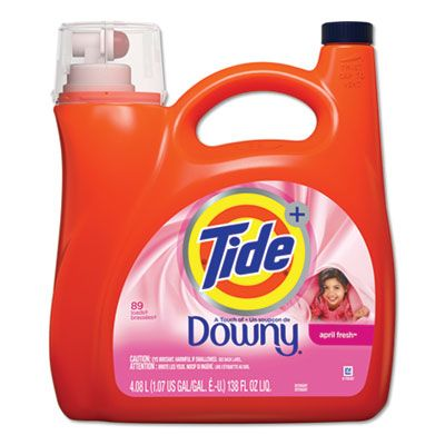 P&G 87456 Tide Touch of Downy Laundry Detergent Liquid, April Fresh Scent, 89 Loads, 138 oz Bottle - 4 / Case