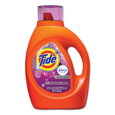 P&G 87566 Tide Plus Febreze Laundry Detergent Liquid, Spring & Renewal Scent, 92 oz Bottle - 4 / Case