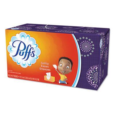 """P&G 87611 Puffs Facial Tissue, 2 Ply, 180 Sheets / Tall Flat Box, 8.2"""" x 8.4"""", White - 4320 / Case"""