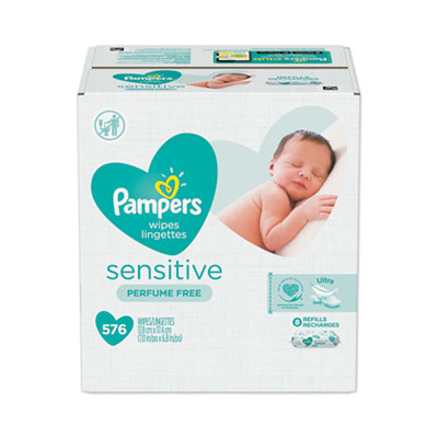 "P&G 88529 Pampers Sensitive Baby Wipes, Unscented, 7"" x 6.8"", 72 / Pack - 8 / Case"