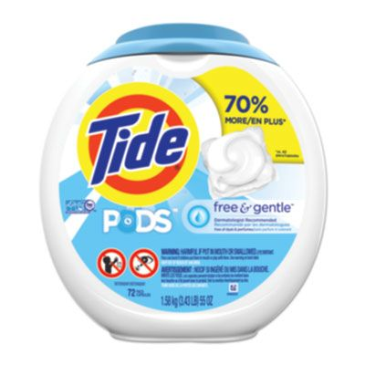 P&G 89892 Tide Free & Gentle Laundry Detergent Pods, 72 / Container - 4 / Case