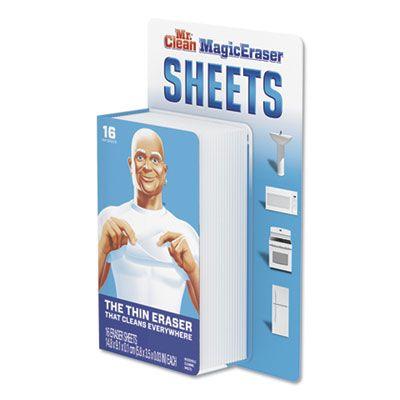 "P&G 90618 Mr. Clean Magic Eraser Sheets, 3.5"" x 5.8"" x 0.03"", 16 / Pack, White - 8 / Case"