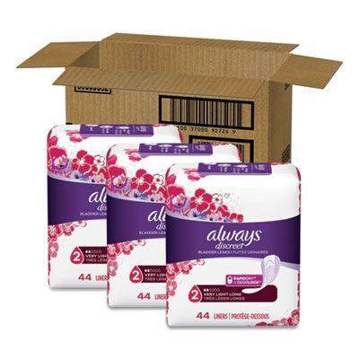 P&G 92724 Always Discreet Bladder Leaks Incontinence Liners, Very Light Absorbency, Long, 44 / Pack - 3 / Case