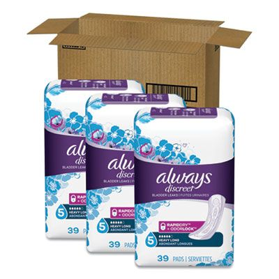 P&G 92729 Always Discreet Sensitive Bladder Leaks Protection Pads, Heavy Absorbency, Long, 39 / Pack - 3 / Case