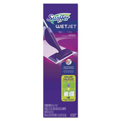 "P&G 92811 Swiffer WetJet Mop Starter Kit, 46"" Handle, Silver / Purple - 2 / Case"