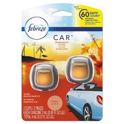P&G 94734 Febreze CAR Air Freshener Clip, Hawaiian Aloha Scent, 2 / Pack - 8 / Case