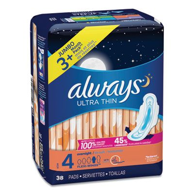 P&G 95236 Always Ultra Thin Overnight Pads with Wings, Size 4, 38 / Pack - 6 / Case