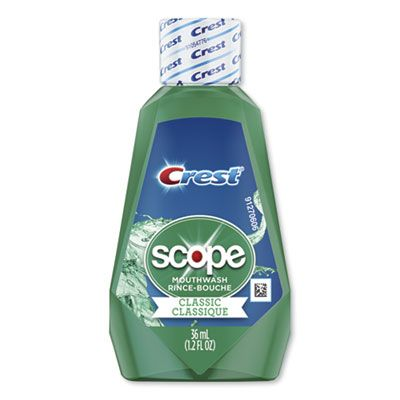 P&G 97506 Crest + Scope Mouthwash, Classic Mint, Travel Size 1.2 oz Bottle - 180 / Case