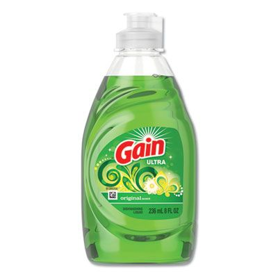 P&G 97614 Gain Manual Dish Detergent Liquid, 8 oz Bottle, Green - 18 / Case