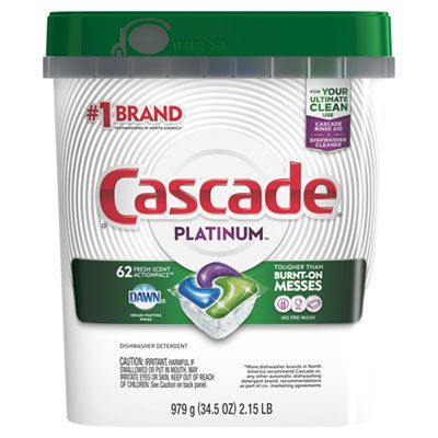 P&G 97726 Cascade Platinum Automatic Dishwasher Detergent Powder/Gel, Fresh Scent, 62 ActionPacs / 34.5 oz Tub - 3 / Case