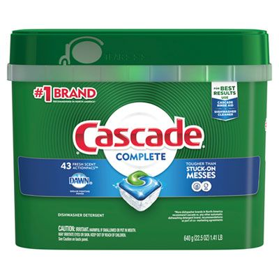 P&G 98208 Cascade Complete Automatic Dishwasher Detergent, Fresh Scent, 43 ActionPacs / 22.5 oz Tub - 6 / Case
