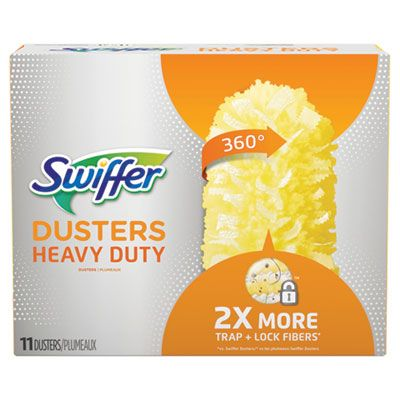 "P&G 99035 Swiffer Heavy Duty Dusters Refill Heads, Dust Lock Fiber, 2"" x 6"", Yellow - 33 / Case"