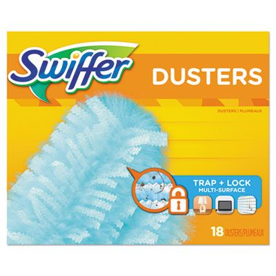 "P&G 99036 Swiffer Dusters Refill Heads, Dust Lock Fiber, 18/ Box, 2"" x 6"", Light Blue - 4 / Case"