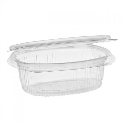 """Pactiv 0CA910120000 EarthChoice 12 oz Plastic Hinged Lid Take Out Deli Container, Recycled PET, 4.92"""" x 5.87"""" x 1.89"""", Clear - 200 / Case"""