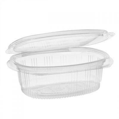 """Pactiv 0CA910160000 EarthChoice 16 oz Plastic Hinged Lid Take Out Deli Container, Recycled PET, 4.92"""" x 5.87"""" x 2.48"""", Clear - 200 / Case"""