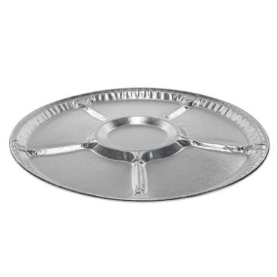 """Pactiv 441610A 16"""" Aluminum Lazy Susan Catering Trays with 5 Sections - 50 / Case"""