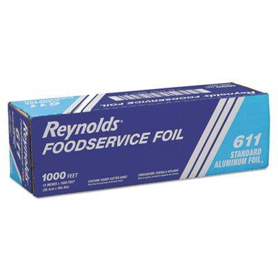 "Pactiv 611 Reynolds Foodservice Aluminum Foil Roll, Standard, 12"" x 1000', Silver - 1 / Case"
