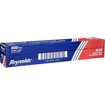 "Pactiv 624 Reynolds Aluminum Foil Roll, Heavy-Duty, 18"" x 500', Silver - 1 / Case"