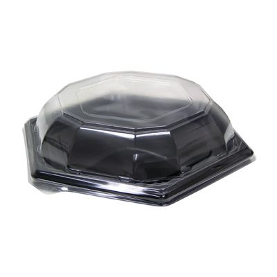 """Pactiv 966016KWP Caterware Hexquisite 16"""" Plastic Catering Food Tray with Dome Lid, Black / Clear - 25 / Case"""