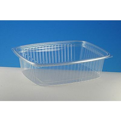 "Pactiv CI86048 Showcase 48 oz Plastic Food Containers and Lids, 9"" x 7.4"" x 2.43"", Clear - 125 / Case"