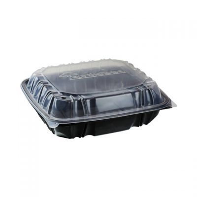 "Pactiv DC109100B000 EarthChoice Hinged Lid Takeout Container, Vented, Microwavable, 10.5"" x 9.5"" x 3.1"", Black / Clear - 132 / Case"