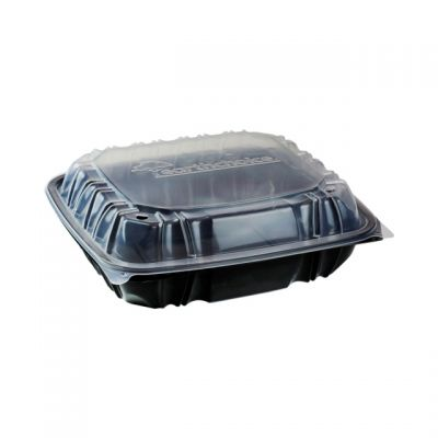 "Pactiv DC109310B000 EarthChoice Hinged Lid Plastic Food Containers, 3 Compartment, Vented, Microwavable, 10.5"" x 9.5"" x 3.1"", Black / Clear - 132 / Case"