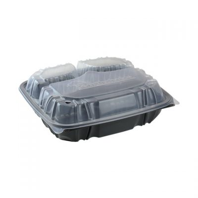 "Pactiv DC109330B000 EarthChoice Hinged Lid Takeout Container, 3 Compartment, Vented, Microwavable, 10.5"" x 9.5"" x 3"", Black / Clear - 132 / Case"
