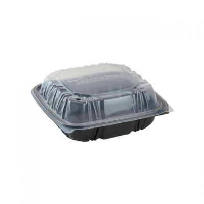 "Pactiv DC757100B000 EarthChoice Hinged Lid Takeout Container, Vented, Microwavable, 7.5"" x 7.5"" x 3.1"", Black / Clear - 150 / Case"