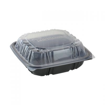"Pactiv DC858100B000 EarthChoice Hinged Lid Takeout Container, Vented, Microwavable, 8.5"" x 8.5"" x 3.1"", Black / Clear - 150 / Case"