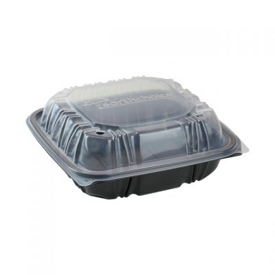 "Pactiv DC858310B000 EarthChoice Hinged Lid Plastic Food Containers, 3 Compartment, Vented, Microwavable, 8.5"" x 8.5"" x 3.1"", Black / Clear - 150 / Case"