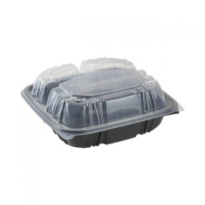 "Pactiv DC858330B000 EarthChoice Hinged Lid Takeout Container, 3 Compartment, Vented, Microwavable, 8.5"" x 8.5"" x 3.1"", Black / Clear - 150 / Case"