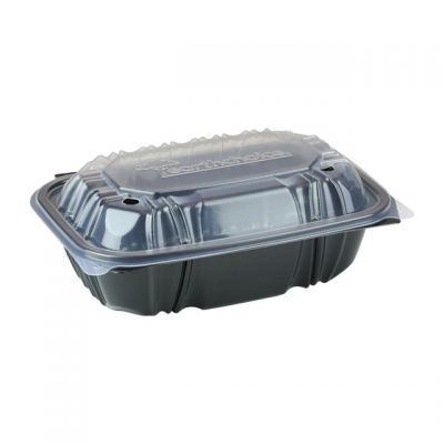 "Pactiv DC961000B000 EarthChoice Hinged Lid Takeout Container, Vented, Microwavable, 9"" x 6"" x 3.1"", Black / Clear - 140 / Case"