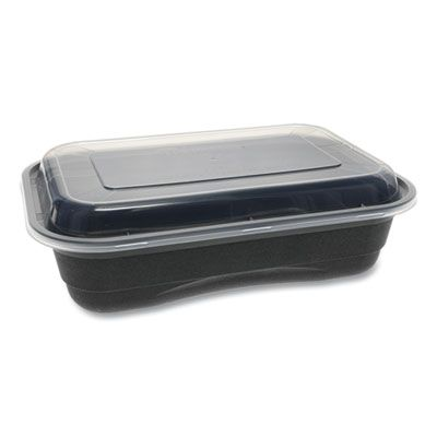 "Pactiv NV2GRT3688B EarthChoice Versa2Go Takeout Containers & Lids, Microwavable, 36 oz 8.4"" x 5.6"" x 2"", Black / Clear - 150 / Case"