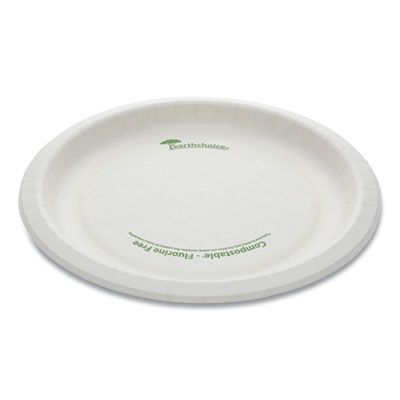 "Pactiv PSP09EC EarthChoice Pressware 9"" Bagasse Plate, Microwavable, Compostable, White - 450 / Case"